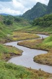 A stream winds its way down the valley below Ban Huai Kee Lek, Chiang Rai, Thailand